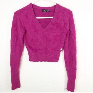 Volcom Hot Pink Soft Fuzzy Crop Top Sweater XS